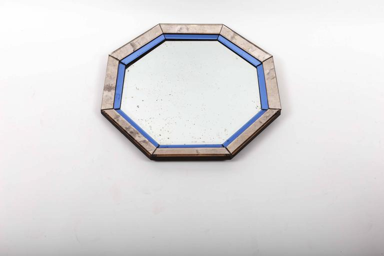 Octagonal Mirror with Blue and Antiqued Silver Frame In Excellent Condition For Sale In East Hampton, NY