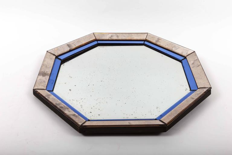 Octagonal Mirror with Blue and Antiqued Silver Frame For Sale 2