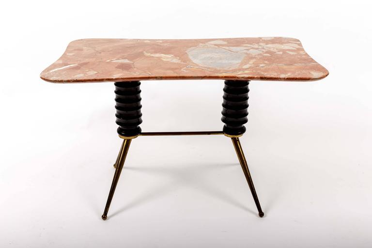 Brass Coffee Table Base with Bimorphic Shaped Rose Marble Top 3