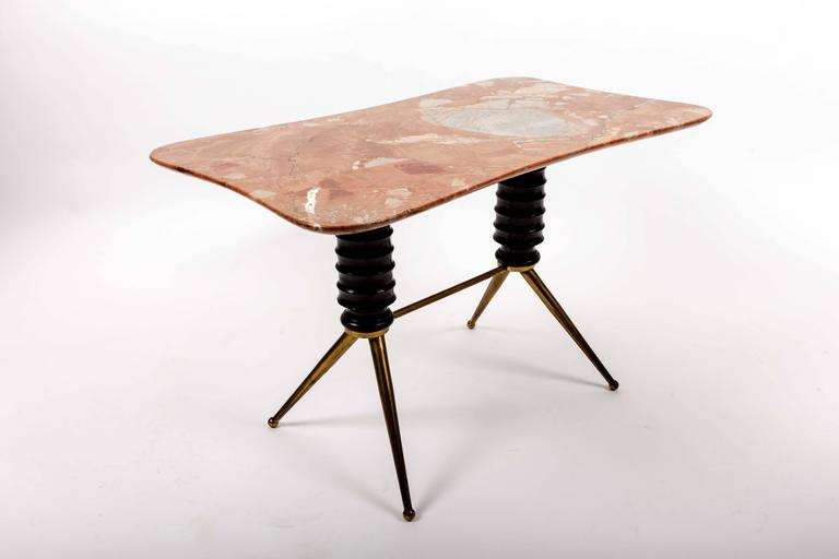 Brass Coffee Table Base with Bimorphic Shaped Rose Marble Top 4
