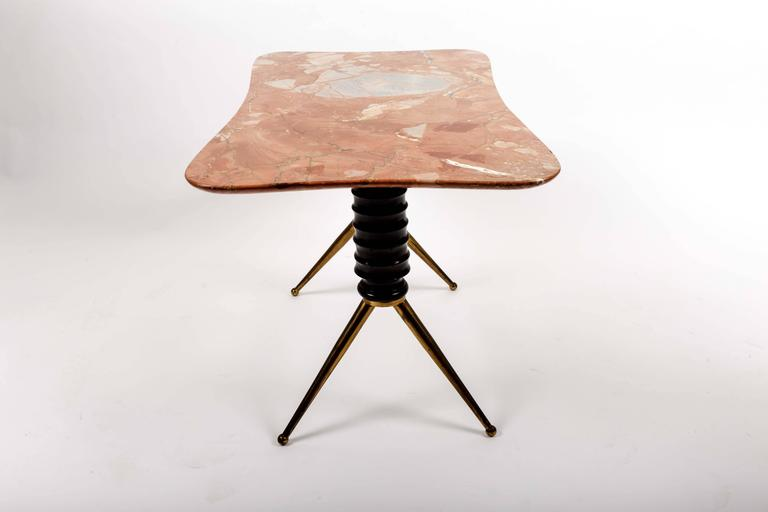 Brass Coffee Table Base with Bimorphic Shaped Rose Marble Top 5