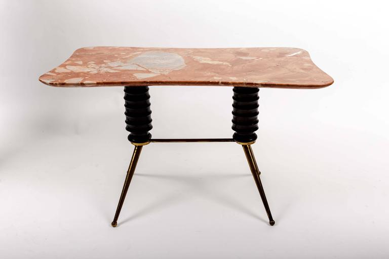 Brass Coffee Table Base with Bimorphic Shaped Rose Marble Top 7