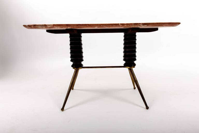 Brass Coffee Table Base with Bimorphic Shaped Rose Marble Top 8