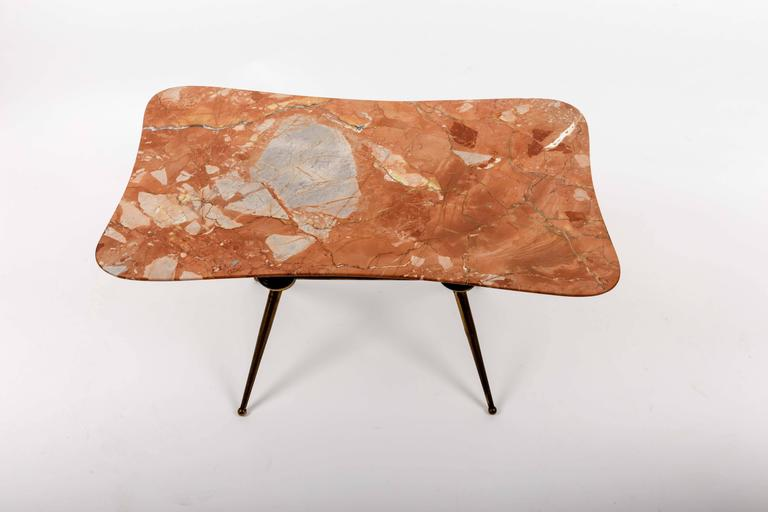 Brass Coffee Table Base with Bimorphic Shaped Rose Marble Top 10