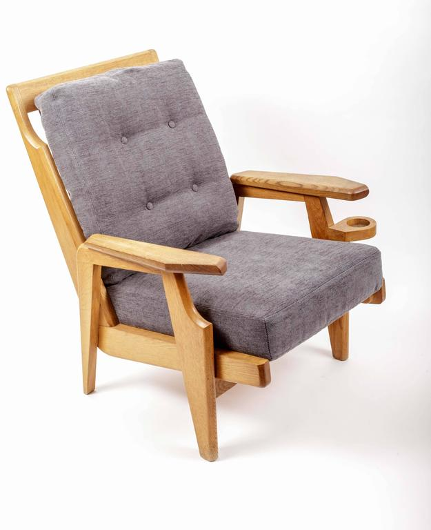Pair of Wooden Armchairs by Guillerme et Chambron 2