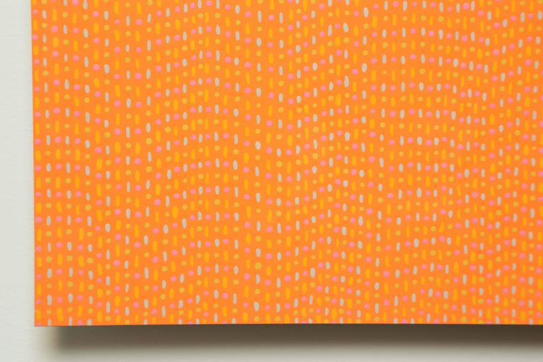 Industrial Pointillism Orange Enamel Painting on Aluminum Sheet by James Goodwill For Sale