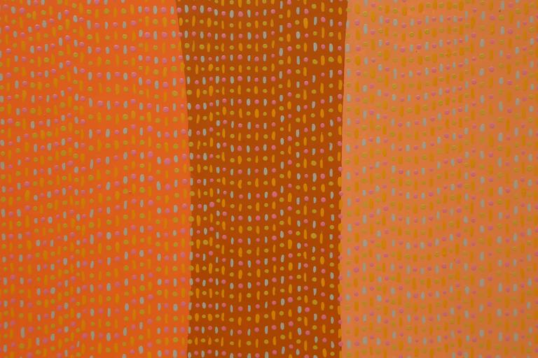 North American Pointillism Orange Enamel Painting on Aluminum Sheet by James Goodwill For Sale