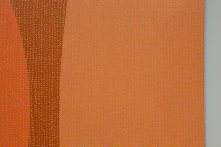 Enameled Pointillism Orange Enamel Painting on Aluminum Sheet by James Goodwill For Sale