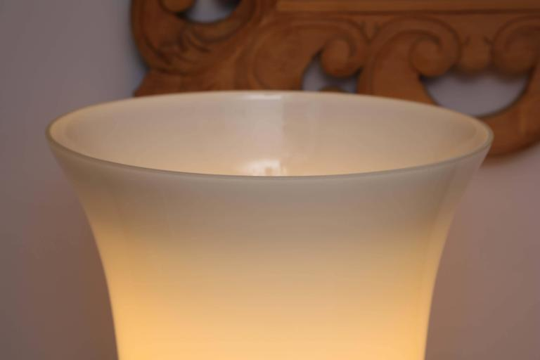 Blown Glass SALE! SALE! SALE !Mid century White Minimalist French Torches TABLE LAMPS For Sale