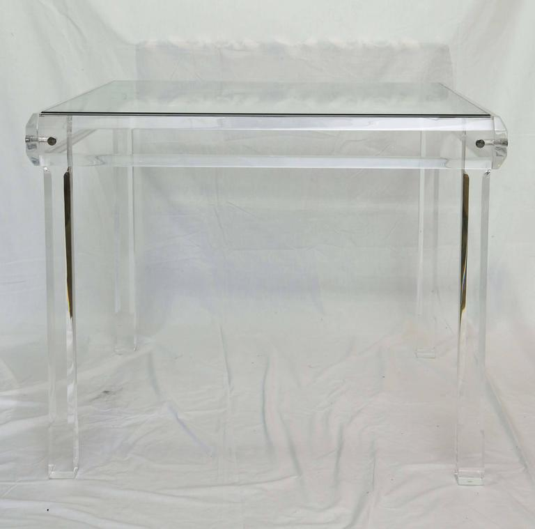 Mid-Century Modern  Midcentury Breakfast Table,Vintage, Beveled Lucite with Two-Inch Thick Solid  For Sale