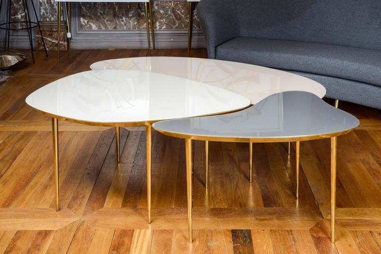 Set of Three Mirror Top Tables For Sale 1