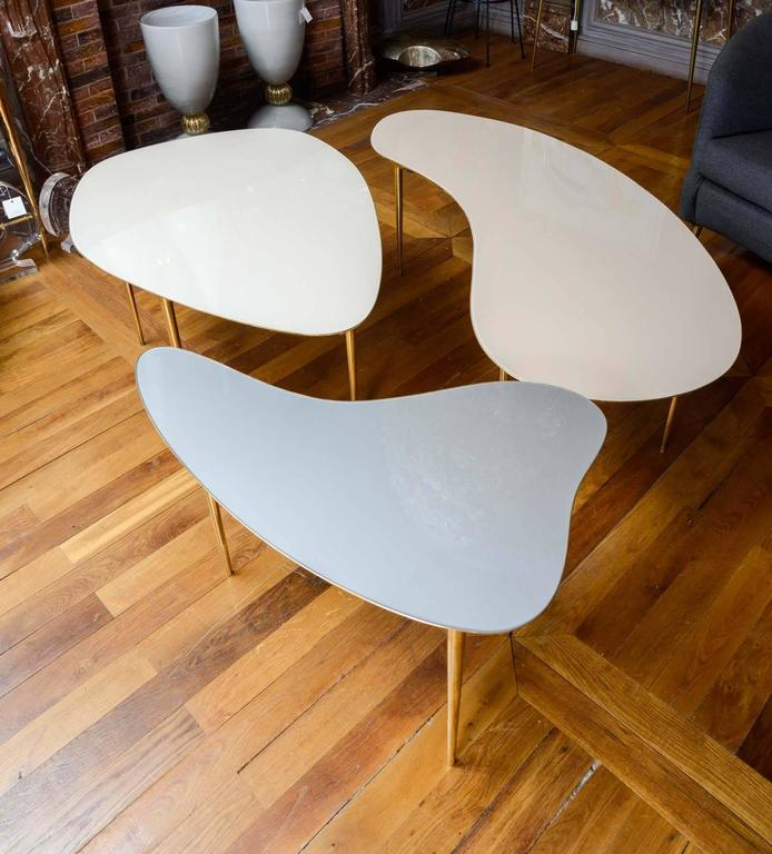 Brass Set of Three Mirror Top Tables For Sale