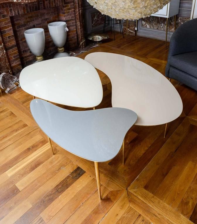 Modern Set of Three Mirror Top Tables For Sale