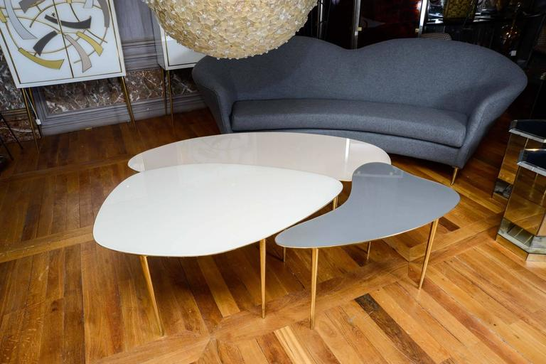 French Set of Three Mirror Top Tables For Sale
