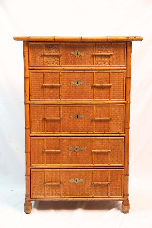 Superb Edwardian Bamboo Chest of Drawers 2