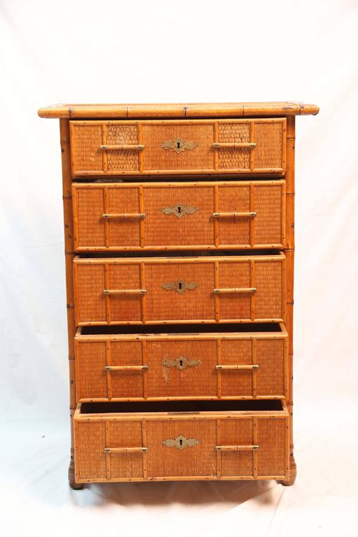 Superb Edwardian Bamboo Chest of Drawers 3