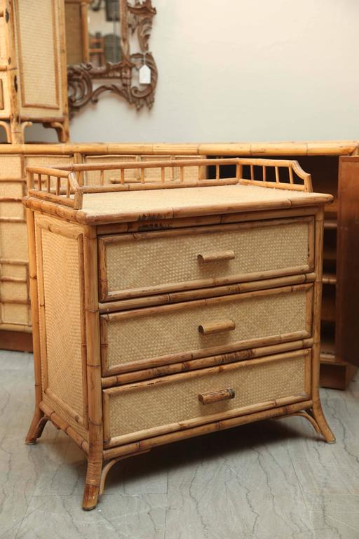 Mid-Century Pair of Rattan  End Tables /Night Stands 9