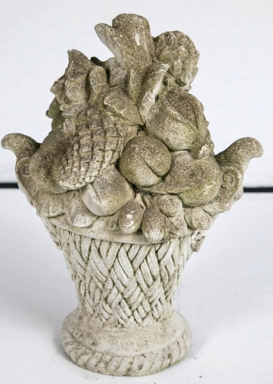 Cast Stone Garden Ornament, Basket of Fruit, circa 1920 For Sale 1