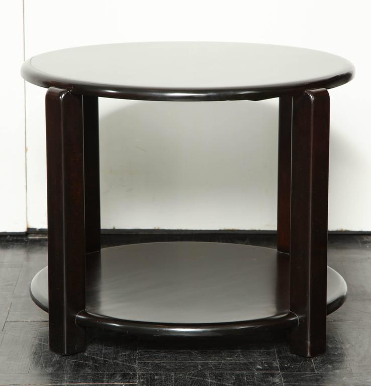American Mid-20th Century Two-Tier Ebonized Walnut Circular Table For Sale