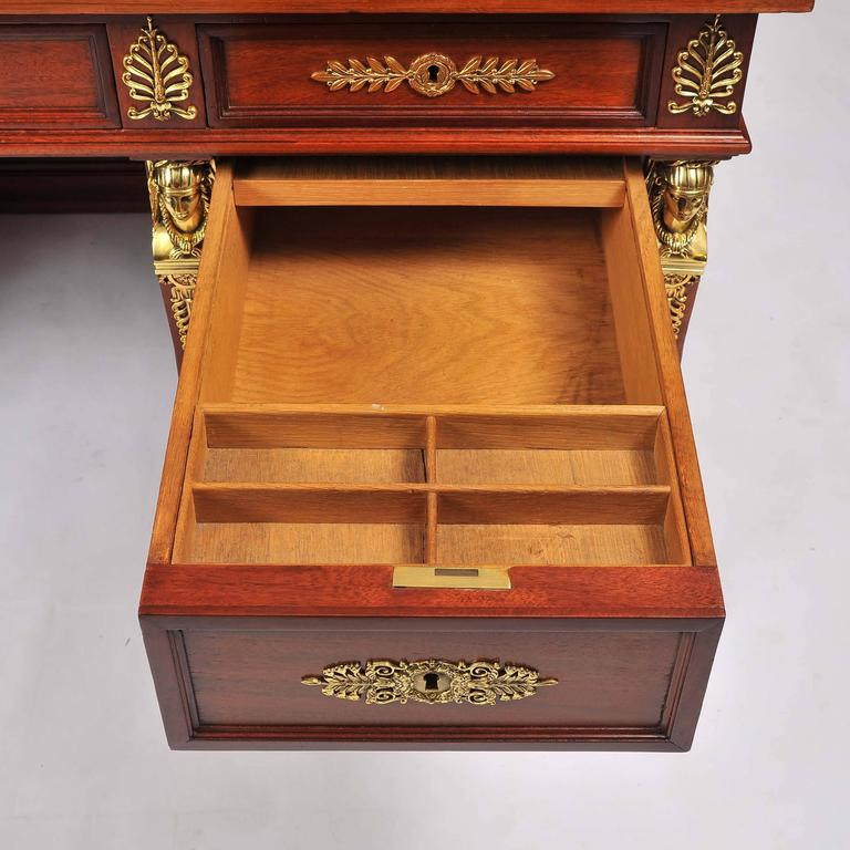 Mahogany And Pedestal Desk With Ormolu Mounts With Secret Compartment For Sale At 1stdibs