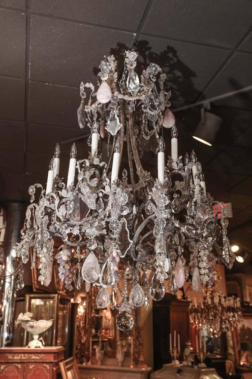 Large Iron And Crystal Chandelier With Clear Rock Rose Quartz And - Quartz chandelier crystals