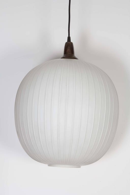 Italian 1950s Round Frosted Glass Pendant Light At 1stdibs