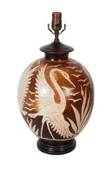 Round Pottery Lamp with Cranes