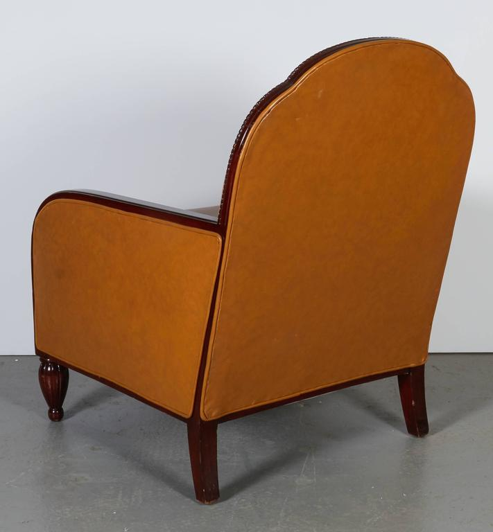 Leather French Art Deco Armchairs For Sale