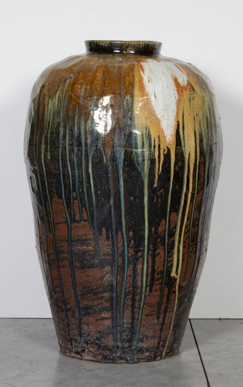 20th Century Tall Antique Ceramic Wine Jar For Sale