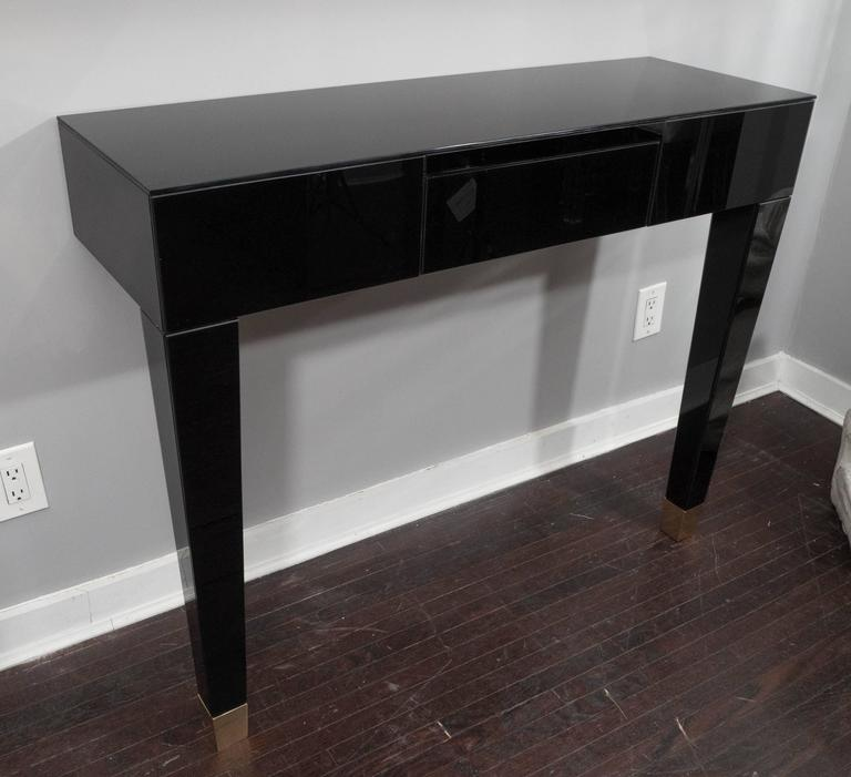 Black Glass Wall Mount Console Table
