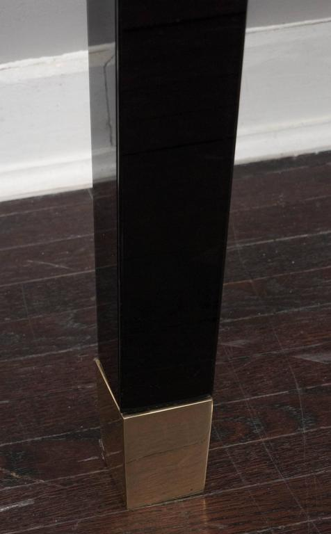 Modern Black Glass Wall Mount Console Table For Sale