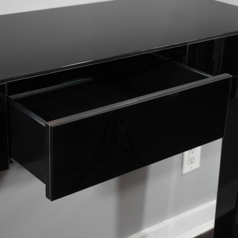 American Black Glass Wall Mount Console Table For Sale