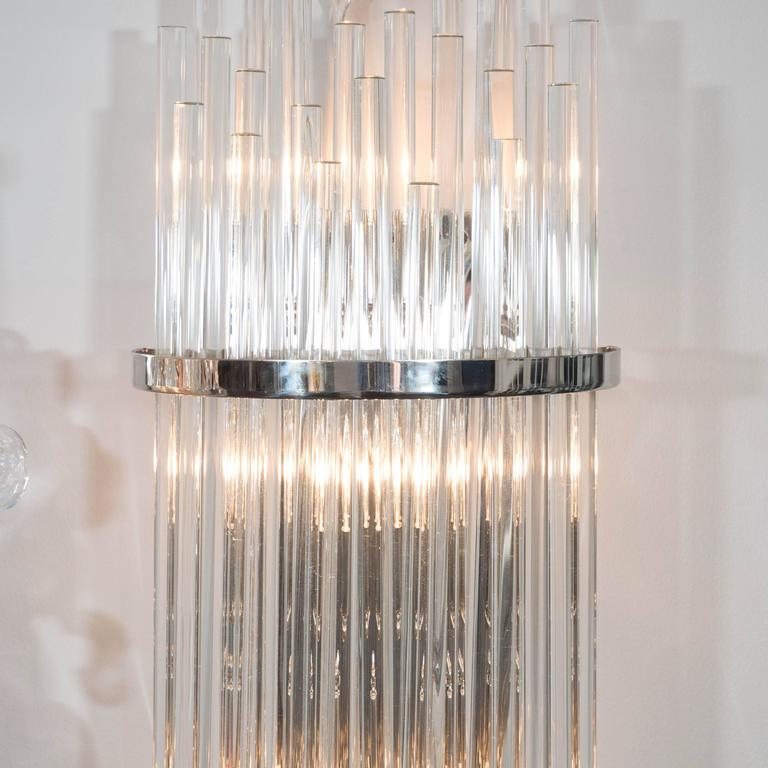Glass Rod Wall Sconces : Pair of Custom Large Glass Rod Sconces For Sale at 1stdibs