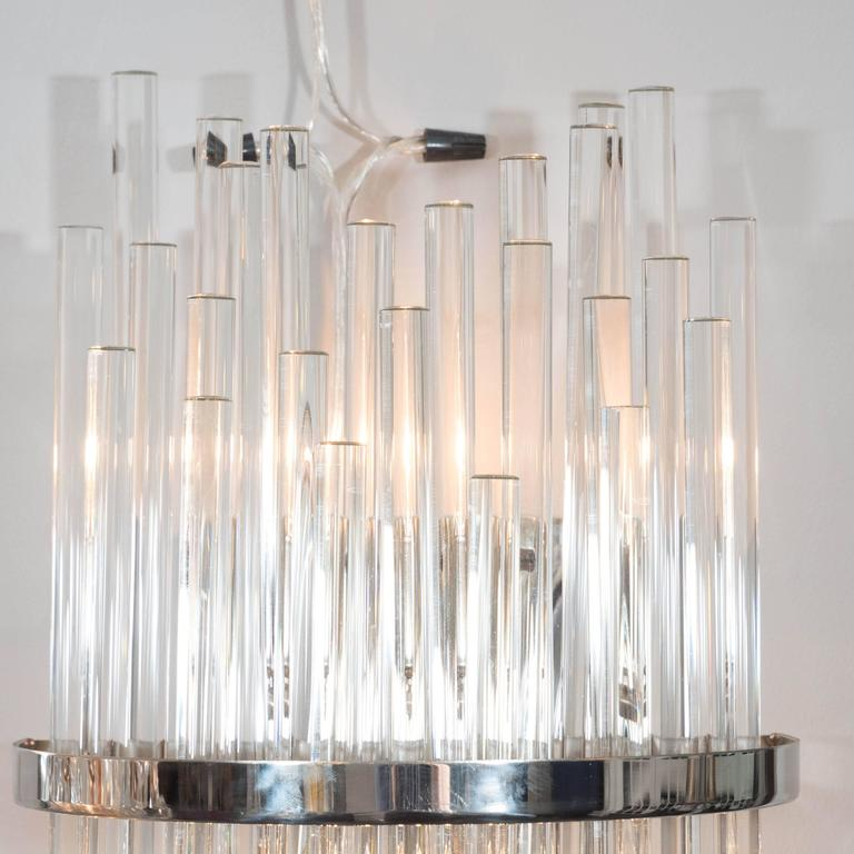 Pair of Custom Large Glass Rod Sconces For Sale at 1stdibs