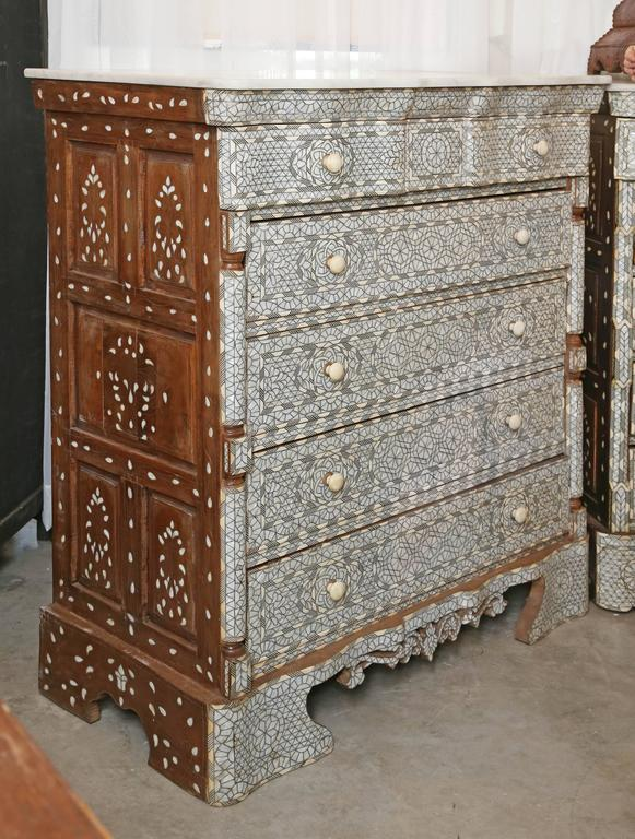 Stunning Antique Five Drawer Wooden Dresser With Mother Of Pearl Inlay From  Syria