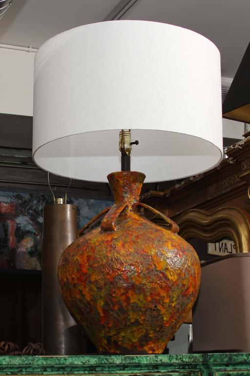 Pair of Mid-Century Pottery Lamps 5