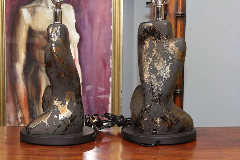 Pair of Mid-Century Male and Femaie Form Table Lamps 4