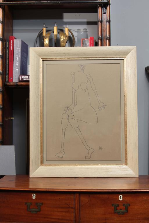 Signed and dated drawing on paper in vintage frame by artist Martin Sumers.