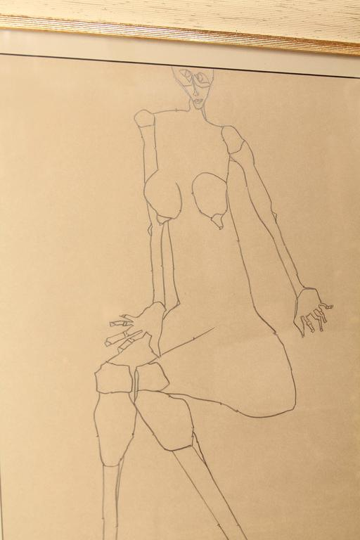 Late 20th Century Graphite Drawing of Female by Martin Sumers For Sale