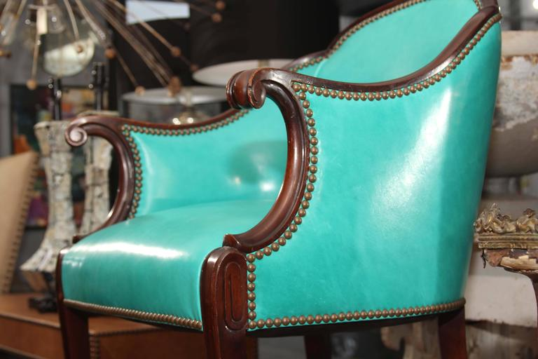 Antique Chair in Peacock Leather In Good Condition For Sale In Seattle, WA