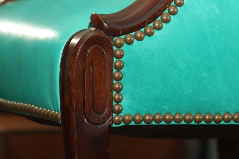 Antique Chair in Peacock Leather For Sale 1