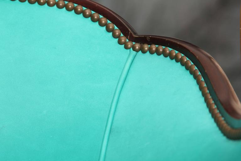 Antique Chair in Peacock Leather For Sale 3