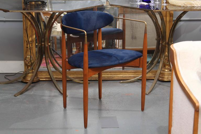 Mid-Century Blue Hide Chair 2