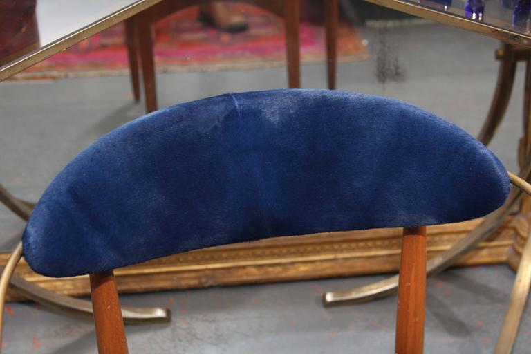 Mid-Century Blue Hide Chair 7
