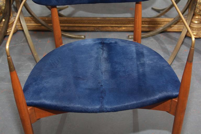 Mid-Century Blue Hide Chair 8