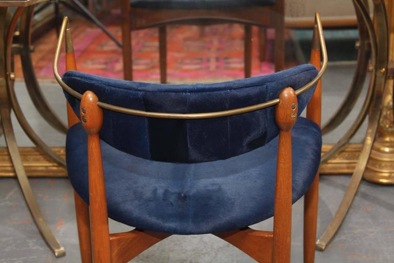 Mid-Century Blue Hide Chair 9