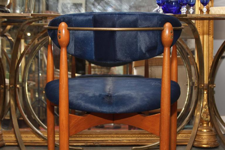 Mid-Century Blue Hide Chair 10