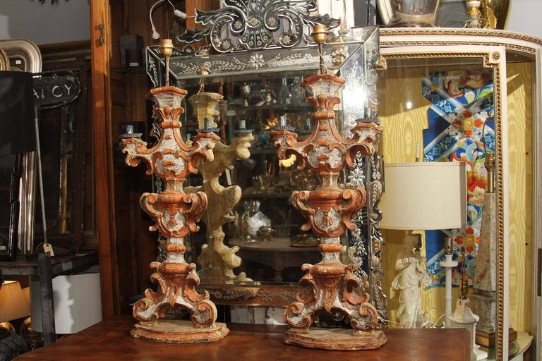 Pair of 18th Century  Italian Painted Wood Candlesticks as Lamps 2