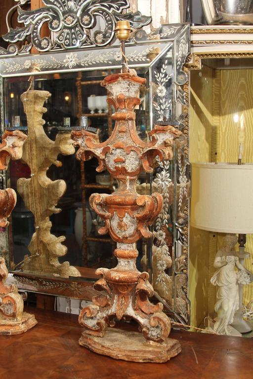 Pair of 18th Century  Italian Painted Wood Candlesticks as Lamps In Distressed Condition For Sale In Seattle, WA