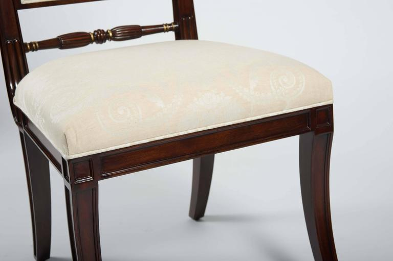 Set of 12 regency style cream upholstered mahogany dining for Cream upholstered dining chairs